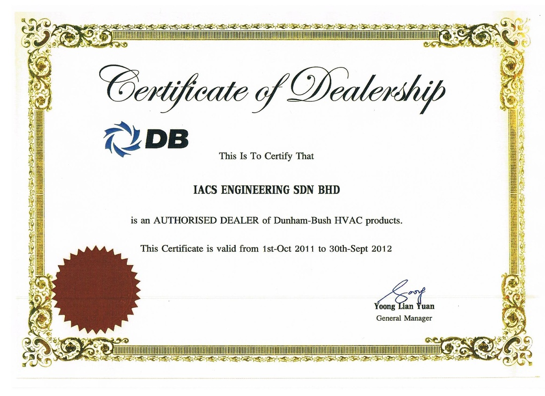 Dunham Bush Certificate Of Dealership Iacs Engineering Sdn Bhd